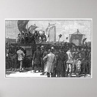La demostración del Chartist en Kennington Póster
