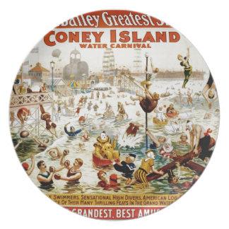 La demostración más grande del circo del vintage e plato de comida