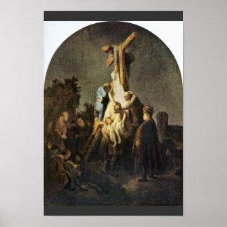 La deposición. Por Rembrandt Van Rijn Poster
