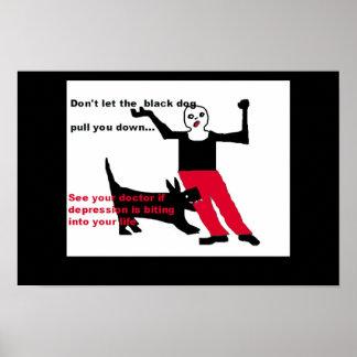 La depresión del perro negro muerde el poster