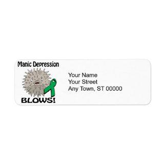 La depresión maníaca sopla diseño de la conciencia etiquetas de remite