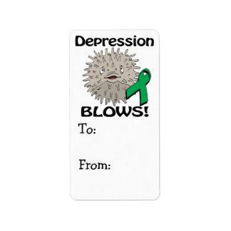 La depresión sopla diseño de la conciencia etiqueta de dirección