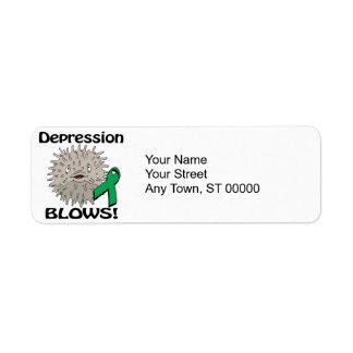 La depresión sopla diseño de la conciencia etiquetas de remite