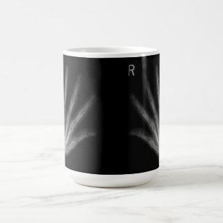 La derecha adicional y manos izquierdas de la taza de café