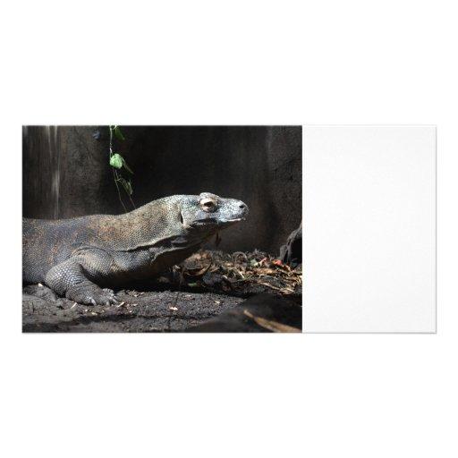 la derecha de dragón de komodo tarjeta personal con foto