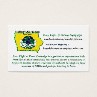 La derecha de Iowa de saber tarjetas de visita de