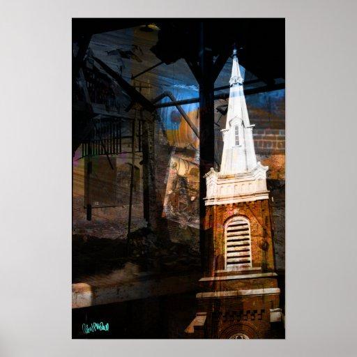 La derecha de la estancia de la iglesia poster