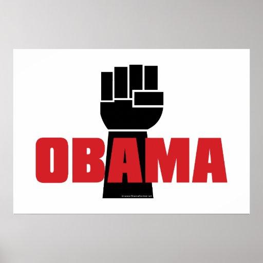 La derecha de Obama en el poster negro del puño