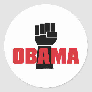 ¡La derecha de Obama encendido! Pegatina Redonda