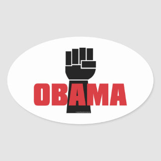 ¡La derecha de Obama encendido! Pegatinas negros Pegatina Ovalada