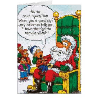 La derecha de Santa a sigue siendo silenciosa Tarjeta De Felicitación