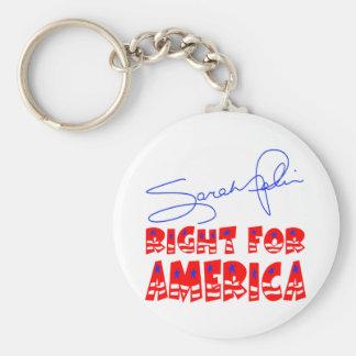 La derecha de Sarah Palin para América Llavero Redondo Tipo Pin