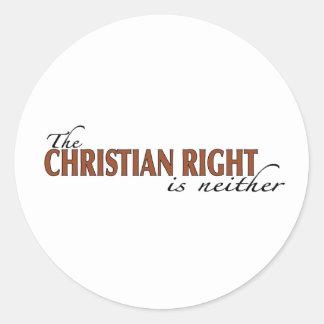 La derecha del cristiano pegatina redonda