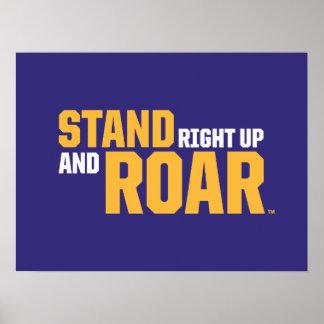 La derecha del soporte ascendente y logotipo del póster