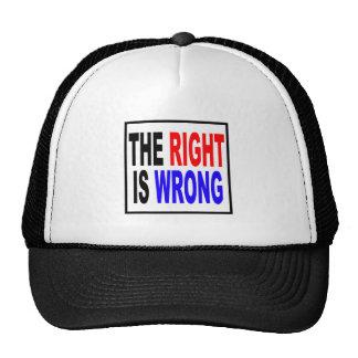 La derecha es incorrecta gorras