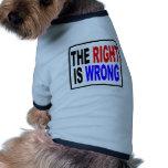 La derecha es incorrecta ropa de perros