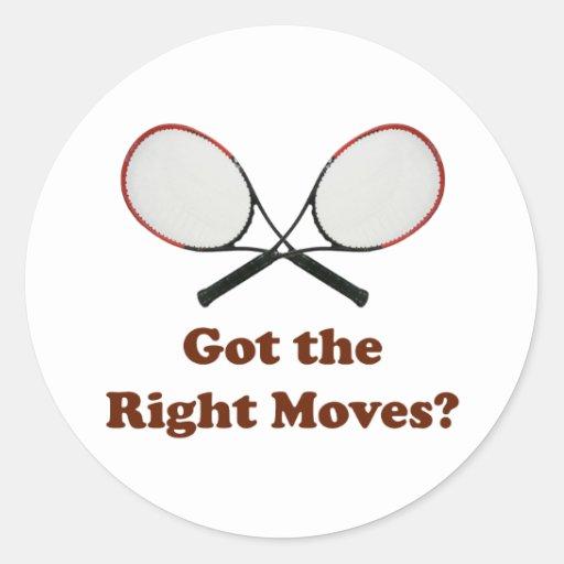 La derecha mueve tenis pegatina redonda
