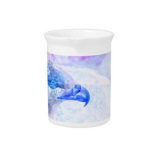 la derecha púrpura azul del revestimiento del águi jarra