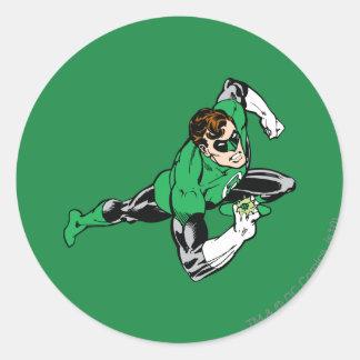 La derecha verde del salto de la linterna pegatinas redondas