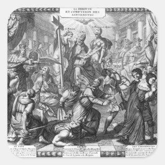 La derrota y la confusión de los Jansenists Pegatina Cuadrada