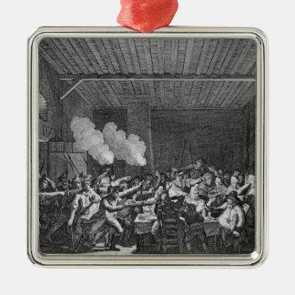 La detención de Louis XVI en Varennes Adorno Cuadrado Plateado