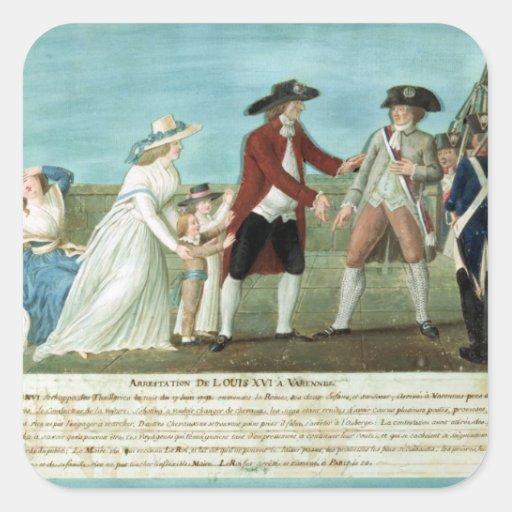 La detención de Louis XVI y su familia Calcomanía Cuadradas Personalizadas