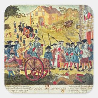 La detención del Cartouche de Louis Dominique Pegatina Cuadrada