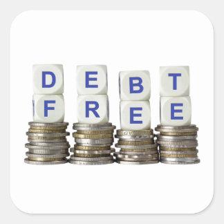 La deuda libera pegatina cuadrada