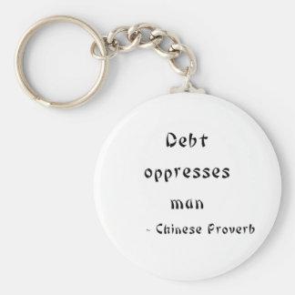 La deuda oprime al hombre llavero redondo tipo pin
