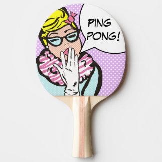 La-Di-Da Lady Pop Art Ping Pong Paddle