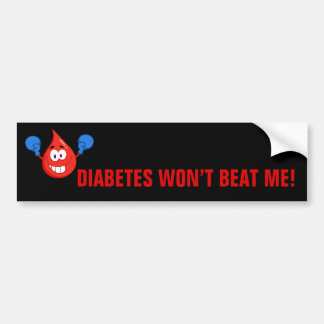 La diabetes no me batirá pegatina de parachoque