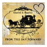 La diagonal amarilla raya el boda del vintage invitación 13,3 cm x 13,3cm