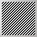 La diagonal blanco y negro raya el poster 12x12