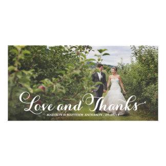 La dicha casada el | que se casa le agradece tarjeta fotográfica