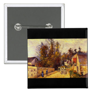 La Diligence, Route d'Ennery by Camille Pissarro Pinback Buttons