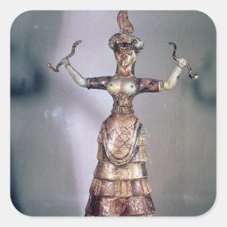 La diosa de las serpientes pegatina cuadrada