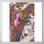 La diosa del color del pelo tienta rojo poster
