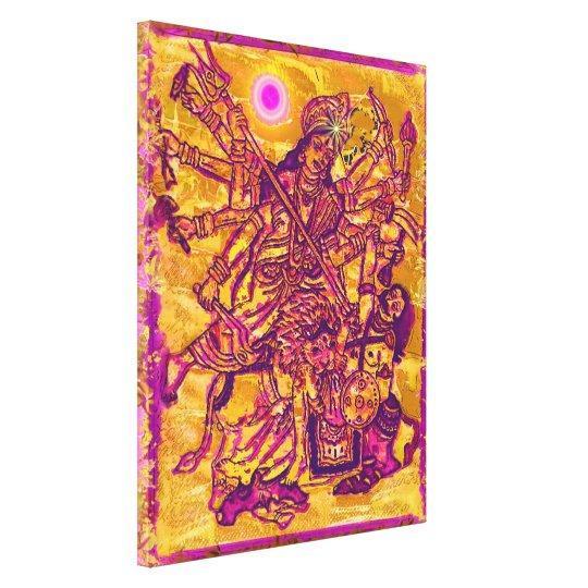 La diosa Durga estiró la impresión de la lona