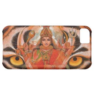 La diosa Durga y el tigre observa el caso del iPho