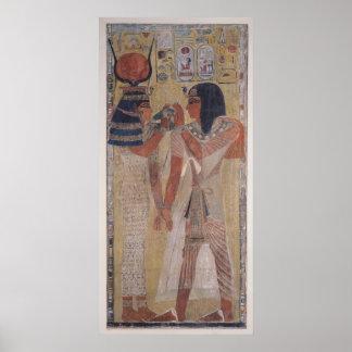 La diosa Hathor que coloca el cuello mágico Poster