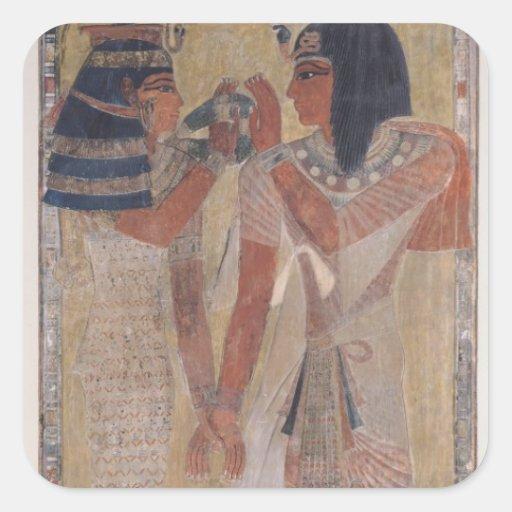 La diosa Hathor que coloca el cuello mágico Pegatina Cuadrada