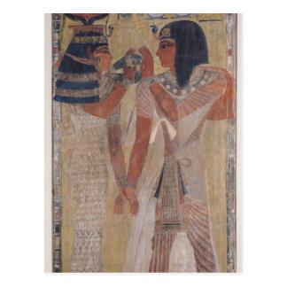 La diosa Hathor que coloca el cuello mágico Tarjeta Postal