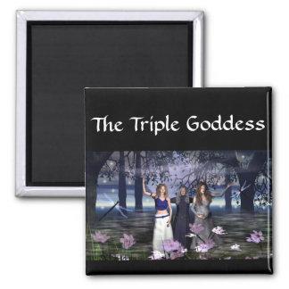 La diosa triple imán cuadrado