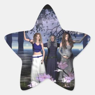 La diosa triple pegatina en forma de estrella