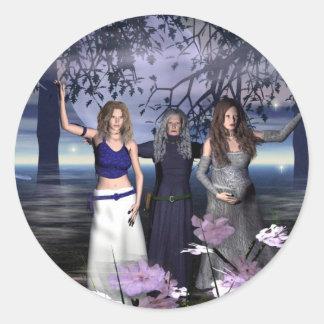 La diosa triple etiqueta redonda
