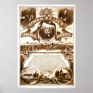 La dirección de despedida 1865 de Lee Poster