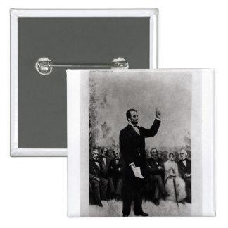 La dirección de Lincoln en Gettysburg, 1895 Pin Cuadrado