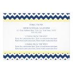 La dirección del boda carda Chevron amarillo azul Invitacion Personal