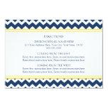 La dirección del boda carda Chevron amarillo azul Invitación 8,9 X 12,7 Cm