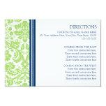 La dirección del boda carda el damasco del azul de invitación 8,9 x 12,7 cm